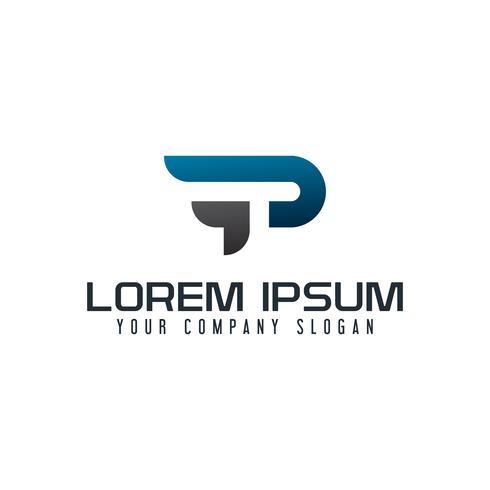 Modello di concetto di disegno di logo di lettera P e T vettore