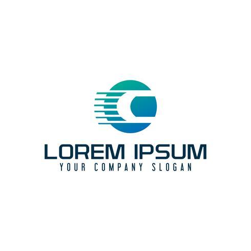 Logo della lettera C. modello di concetto di design veloce velocità vettore