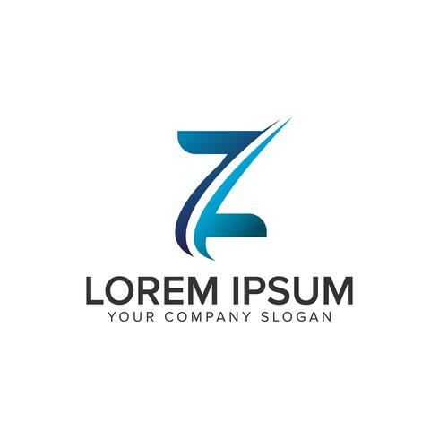 Modello di concetto di disegno di lettera Z moderno lettera C. completamente edit vettore