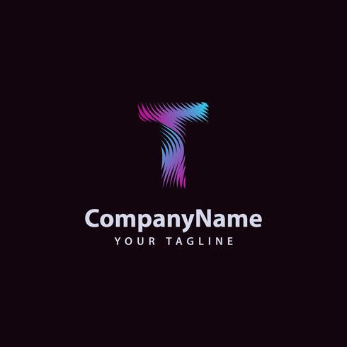 Modello di disegno di lettera T linea moderna dell'onda logo. vettore