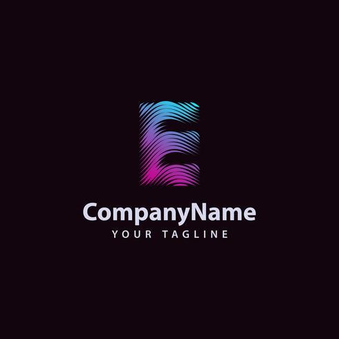 Modello di progettazione di logo di linea di onda moderna lettera E. vettore