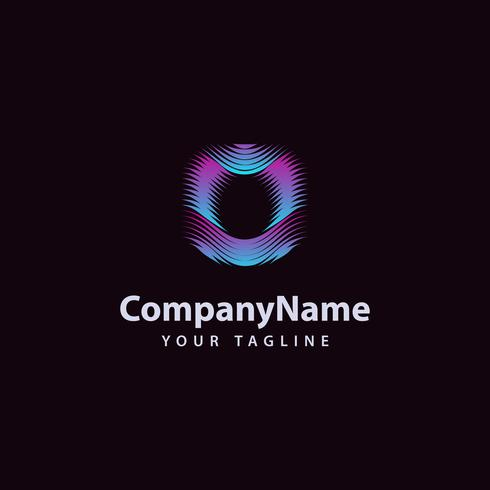 Modello di progettazione di logo di linea moderna O lettera O. vettore