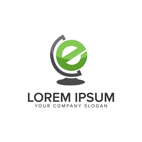 modello di concetto di disegno di lettera E globo logo design. Vect completamente modificabile vettore