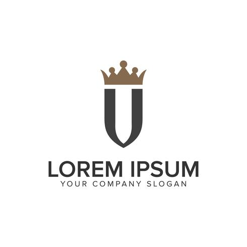 lettera U con modello di concetto di corona logo design di lusso. vettore