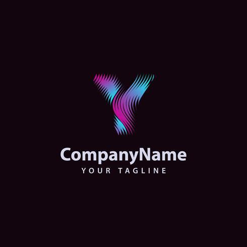 Modello di progettazione di logo di linea di onda moderna lettera Y. vettore