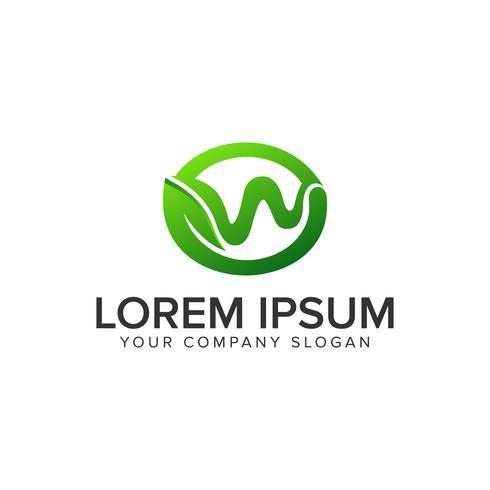 modello di concetto di disegno di lettera W foglia logo. vecto completamente modificabile vettore