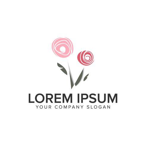 Modello di concetto di fiore astratto logo design. vettore