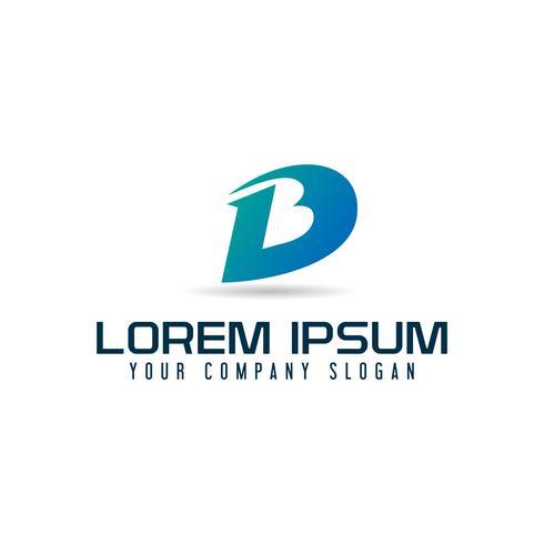 Modello di concetto di disegno di marchio di lettera D e B vettore
