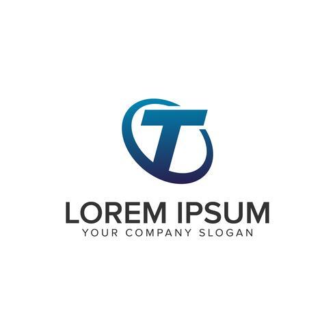 Modello di concetto di disegno di lettera T logo moderno creativo. completamente ed vettore