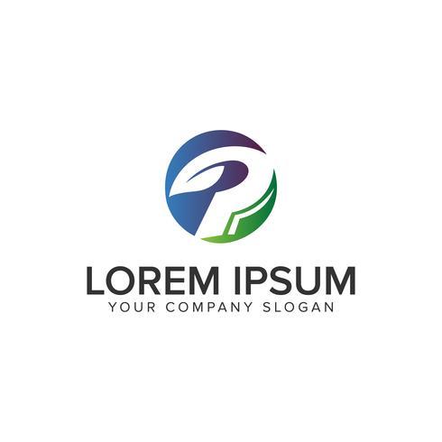 Modello di concetto di disegno di marchio di natura verde lettera P. completamente editab vettore