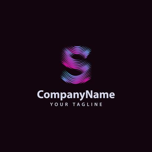 Modello di progettazione di logo di linea di onda moderna lettera S. vettore