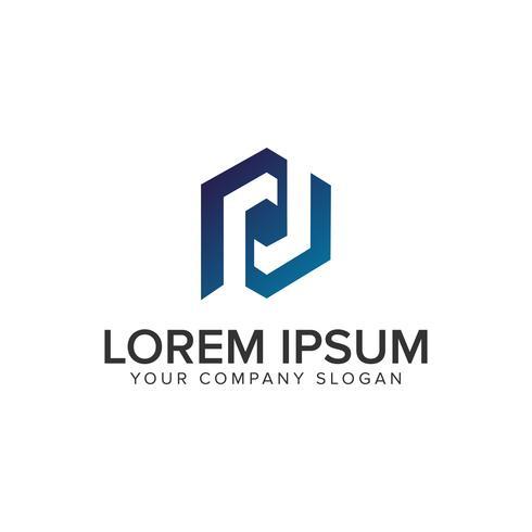 Modello di concetto di progettazione logo esagonale lettera P. vettore
