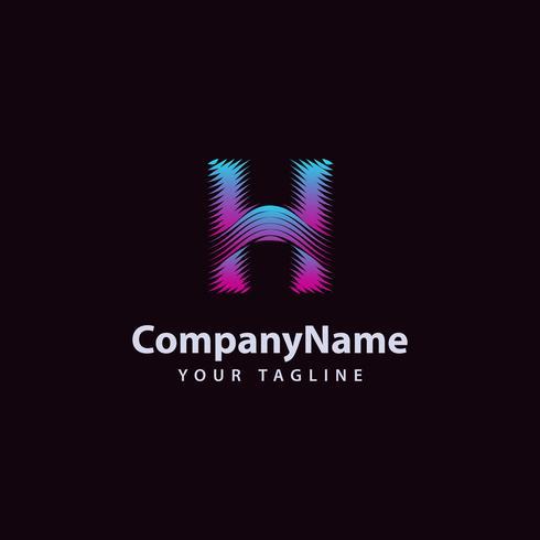Modello di progettazione di logo di linea di onda moderna lettera H. vettore