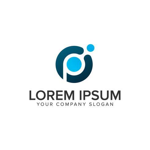 Modello di concetto di progetto di logo tech dot lettera P. vettore