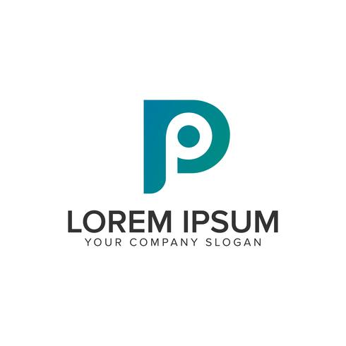 modello di concetto di disegno di marchio moderno lettera P. vettore