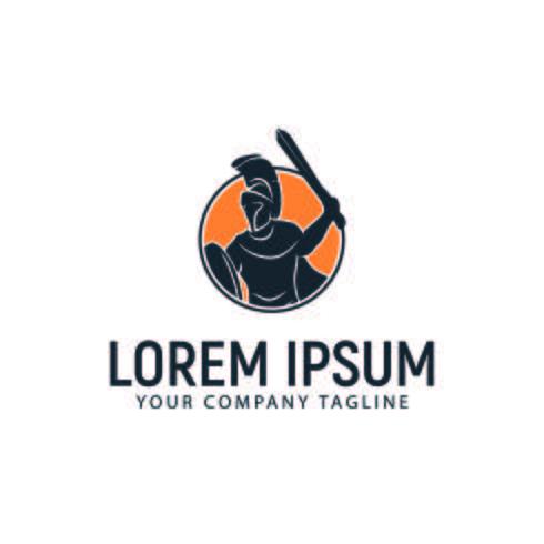 modello di concetto di design logo guerriero spartano vettore