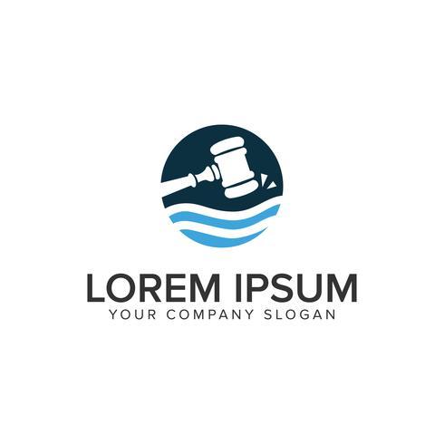 modello di concetto di progettazione di logo di legge di martello. vettore