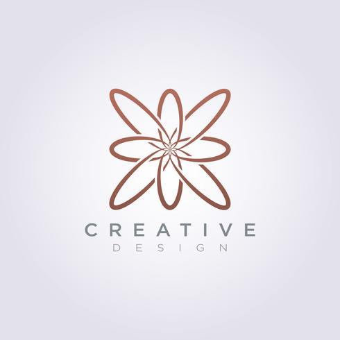 Linea di lusso decorativo di progettazione di logo dell'icona di vettore fiore
