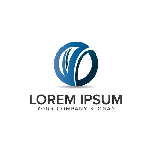 modello di concetto di progettazione logo circolare moderna lettera V. completamente edi vettore