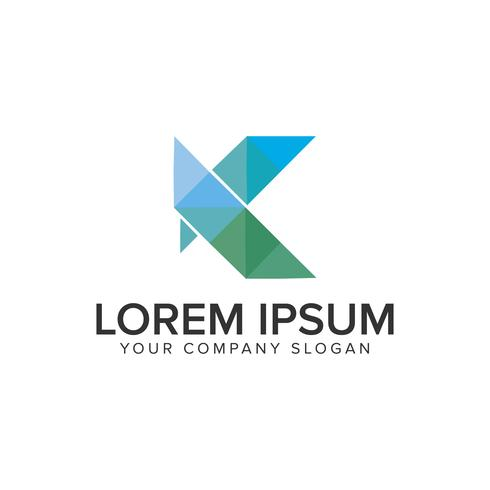 Modello di concetto di disegno di marchio moderno lettera K. vettore