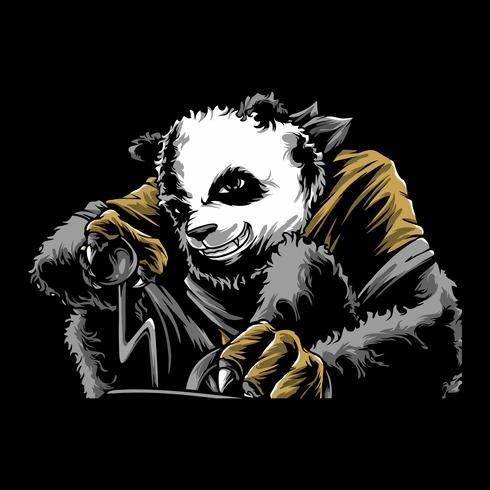 vettore di disegno della mano panda arrabbiato