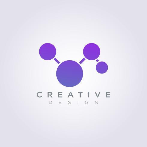 Logo Design Vector Symbol Icon Tecnologia molecolare del cerchio palla