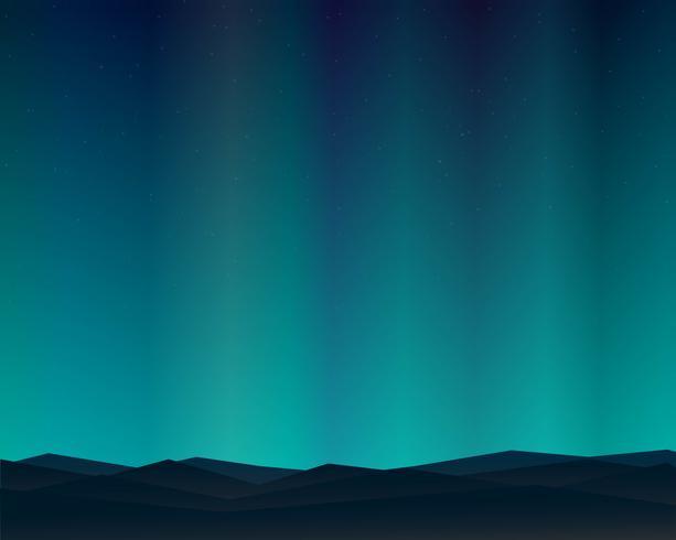 Notte del paesaggio nordico della montagna con la priorità bassa del cielo delle stelle di Aurora. vettore