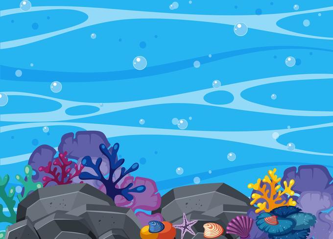 Bella scena corallina e subacquea vettore