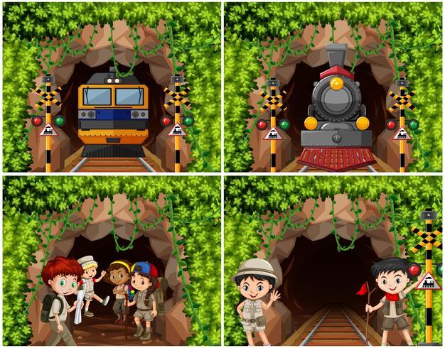 Set di bambini da campeggio che esplorano la natura vettore