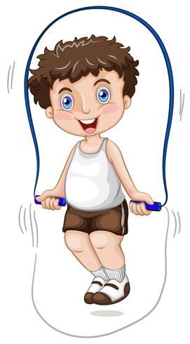 Un ragazzo che salta la corda vettore