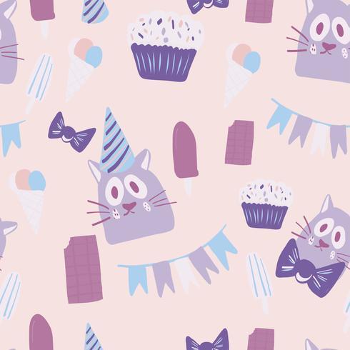 Auguri di buon compleanno con design di gatto vettore