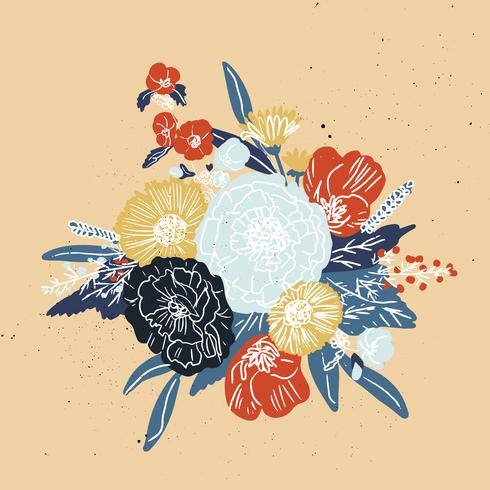 Semplice e divertente motivo floreale. Struttura senza giunte di vettore con fiori e pois. Sfondo di fiori in stile vintage ingenuo.