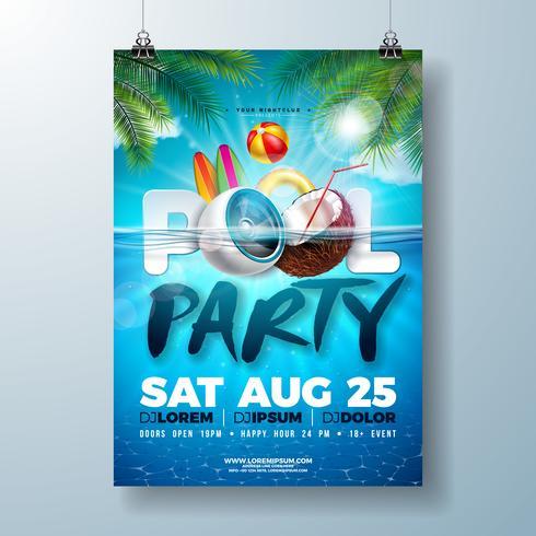 Modello di progettazione del manifesto festa in piscina estiva con foglie di palma, acqua, beach ball e galleggiante su priorità bassa blu oceano sott'acqua. vettore