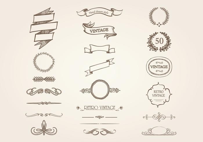 Pacchetto di vettore di ornamento vintage disegnato a mano