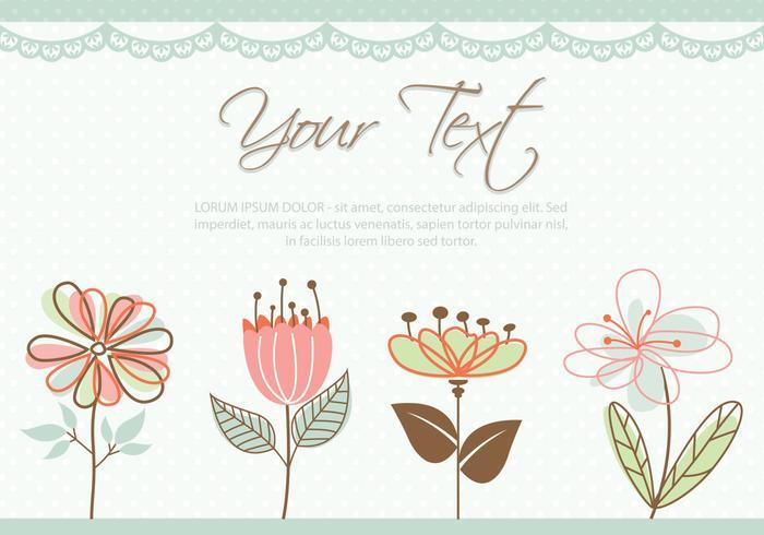 Vettore pastello sveglio della carta dei fiori colorati