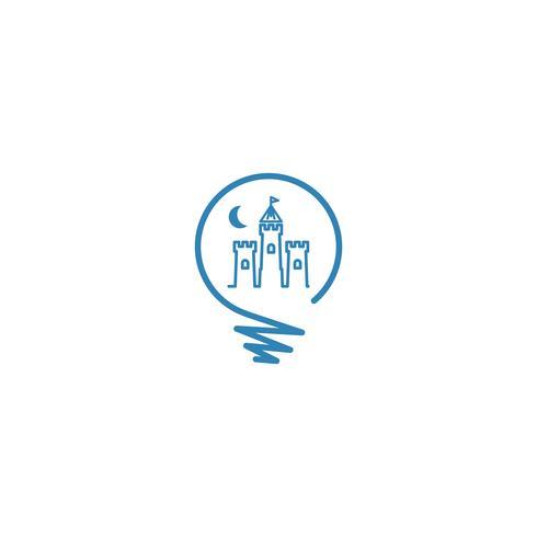 castello icona logo modello vettoriale illustrazione icona elemento isolato