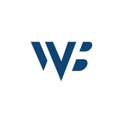 logotype lettera wb semplice logo modello illustrazione vettoriale
