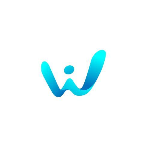 Download dell'elemento dell'icona dell'illustrazione di vettore del modello di logo della lettera w