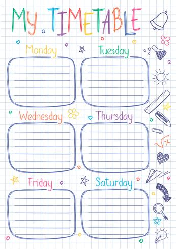 Modello di orario scolastico sul foglio di quaderno con testo scritto a mano. Le lezioni settimanali comprendono uno stile abbozzato decorato con scarabocchi disegnati a mano. vettore