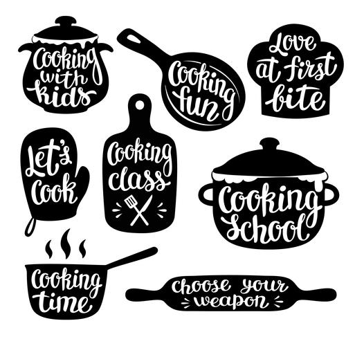 Collezione di cucina etichetta o logo. Scritto a mano lettering, calligrafia cucina illustrazione vettoriale. Cook, chef, icona di utensili da cucina o logo. vettore
