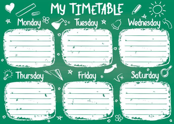 Modello dell'orario della scuola sul bordo di gesso con il testo del gesso scritto mano. Shedule lezioni settimanali in stile abbozzato decorato con scarabocchi disegnati a mano a bordo verde. vettore