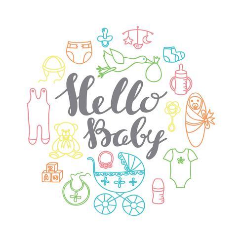 Saluto di celebrazione della doccia del bambino e modello della carta dell'invito con il letterin della mano vettore