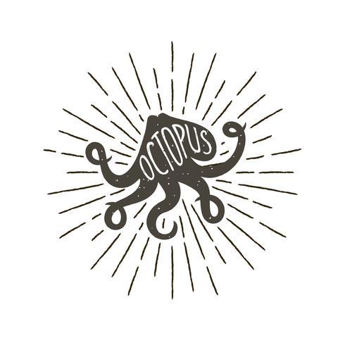 Contrassegno dell'annata disegnata a mano monocromatica, retro distintivo con la siluetta strutturata di polipo. vettore
