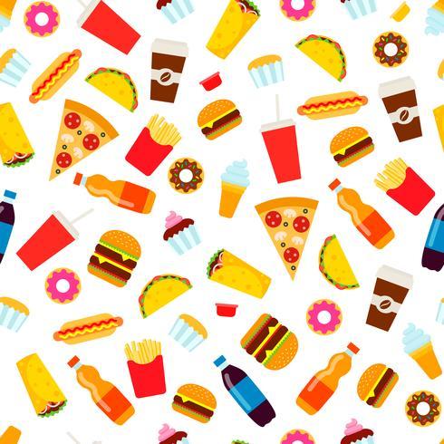 Modello senza cuciture colorato fast food. Vettore di cibo spazzatura ripetendo sfondo per la progettazione tessile, carta da imballaggio, carta da parati.