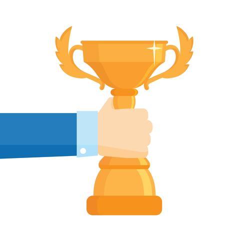 Illustrazione vettoriale vincitore del premio. Concetto di vettore di raggiungimento obiettivo obiettivo, imprenditore di successo tenendo in mano il premio Coppa d'oro, idea di leadership, vincitore del concorso. Design piatto.