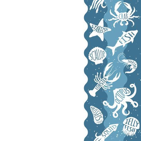 Motivo ripetitivo verticale con prodotti ittici. Insegna senza cuciture dei frutti di mare con gli animali subacquei. Progettazione di piastrelle per menu di ristoranti, industrie ittiche o market shop. vettore