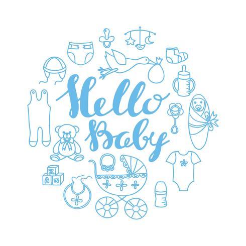 Saluto di celebrazione di bambino doccia e modello di carta di invito con scritte a mano Ciao bambino e contorno elementi di design del bambino. vettore
