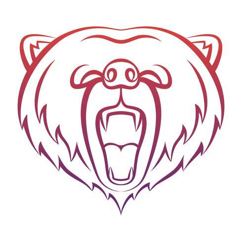 Icona di orso ruggente isolato su uno sfondo bianco. Orso modello di logo, disegno del tatuaggio, stampa t-shirt. Logo di contorno di animali selvatici. vettore