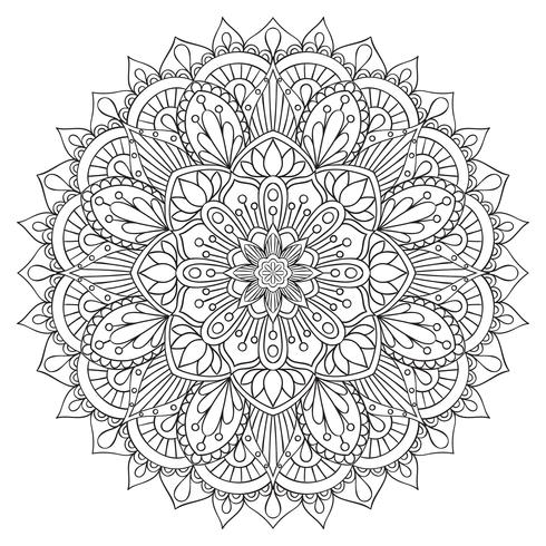 Elemento decorativo orientale per libro da colorare per adulti. Ornamento etnico Mandala contorno monocromatico, modello di terapia antistress. Simbolo di yoga vettore
