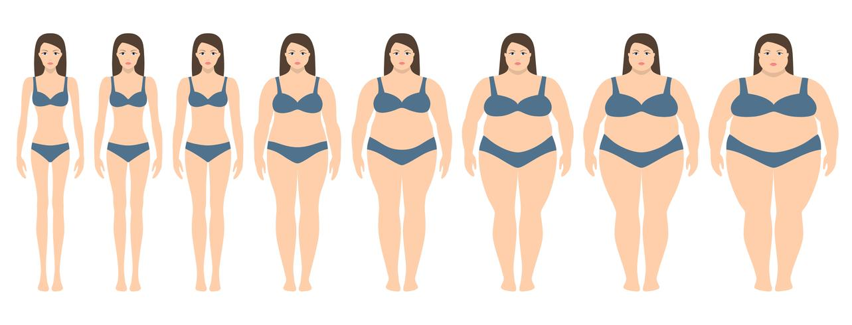 Illustrazione vettoriale di donne con peso diverso da anoressia ad estremamente obesi. Indice di massa corporea, concetto di perdita di peso.